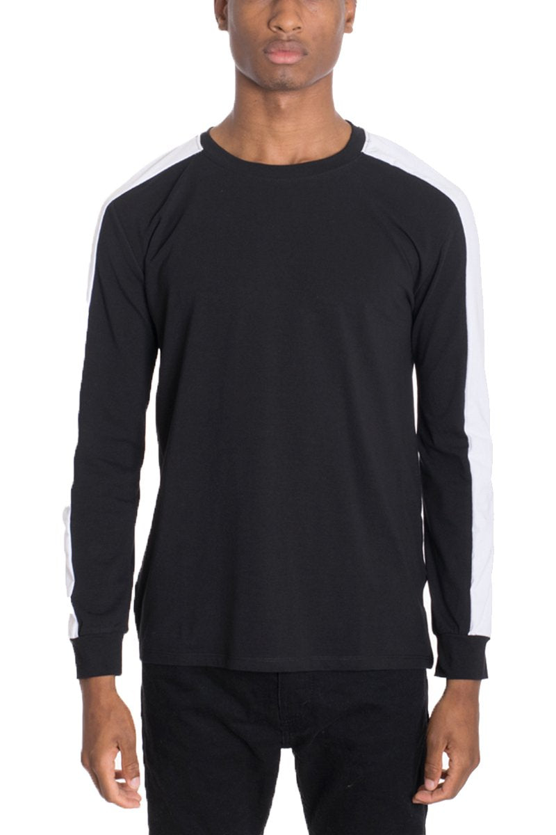"""Edmund"" - Side Stripe Long Sleeve Shirt - BLACK/WHITE"