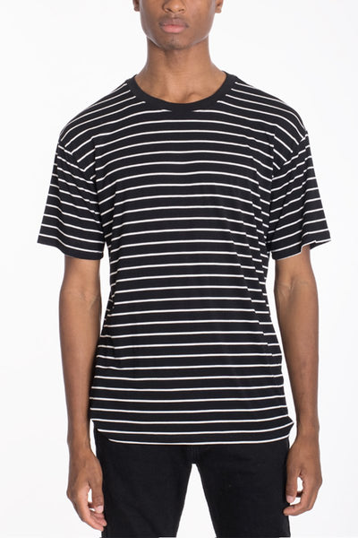 """Duncan"" - Black & White Striped T-Shirt - OMGoth - My Gothic Shop"