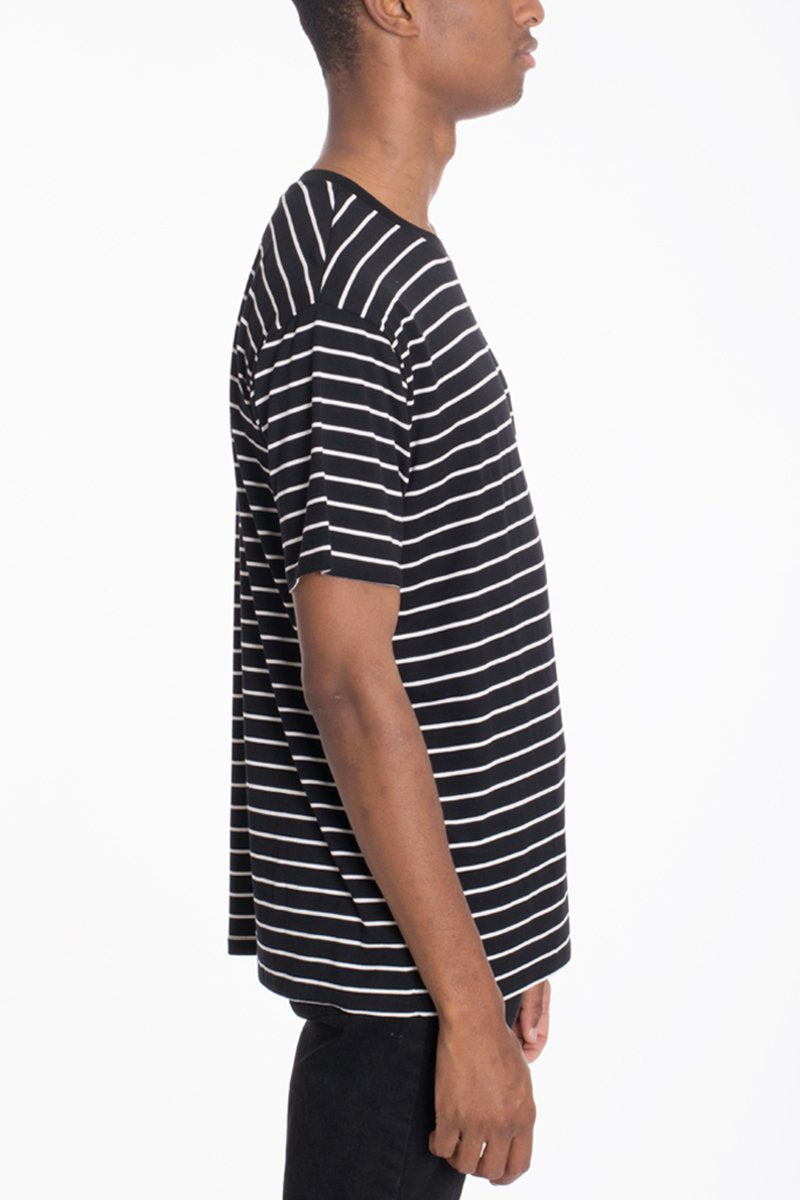 """Duncan"" - Black & White Striped T-Shirt"