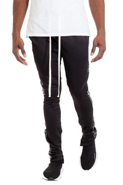 """Grimoire"" - Leather Stripe Track Pants - OMGoth - My Gothic Shop"