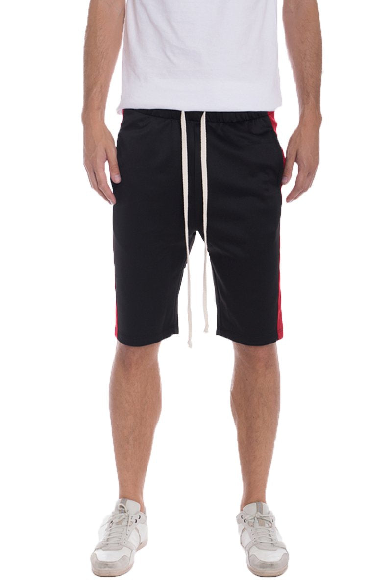 """Victor"" - Side Stripe Track Shorts - Black/Red"