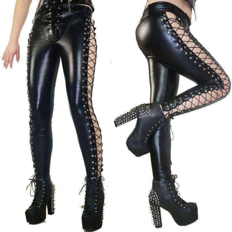 """Primeveire"" - Gothic Faux Leather Pants Leggings"