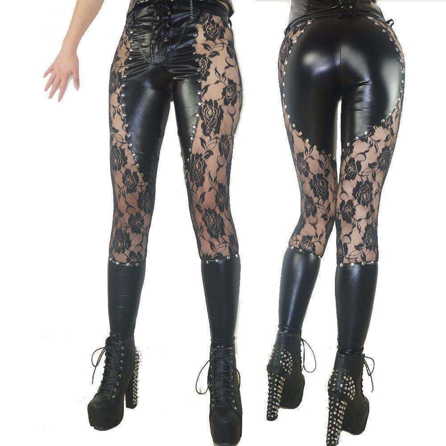 "OMGoth - My Gothic Shop leggings ""Primeveire"" - Gothic Faux Leather Pants Leggings"