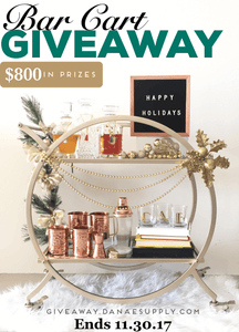 The 2017 Drink & Be Merry Holiday Bar Cart Giveaway by Danae Supply