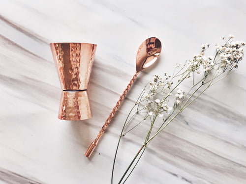 Copper Jigger and Mixing Spoon Set