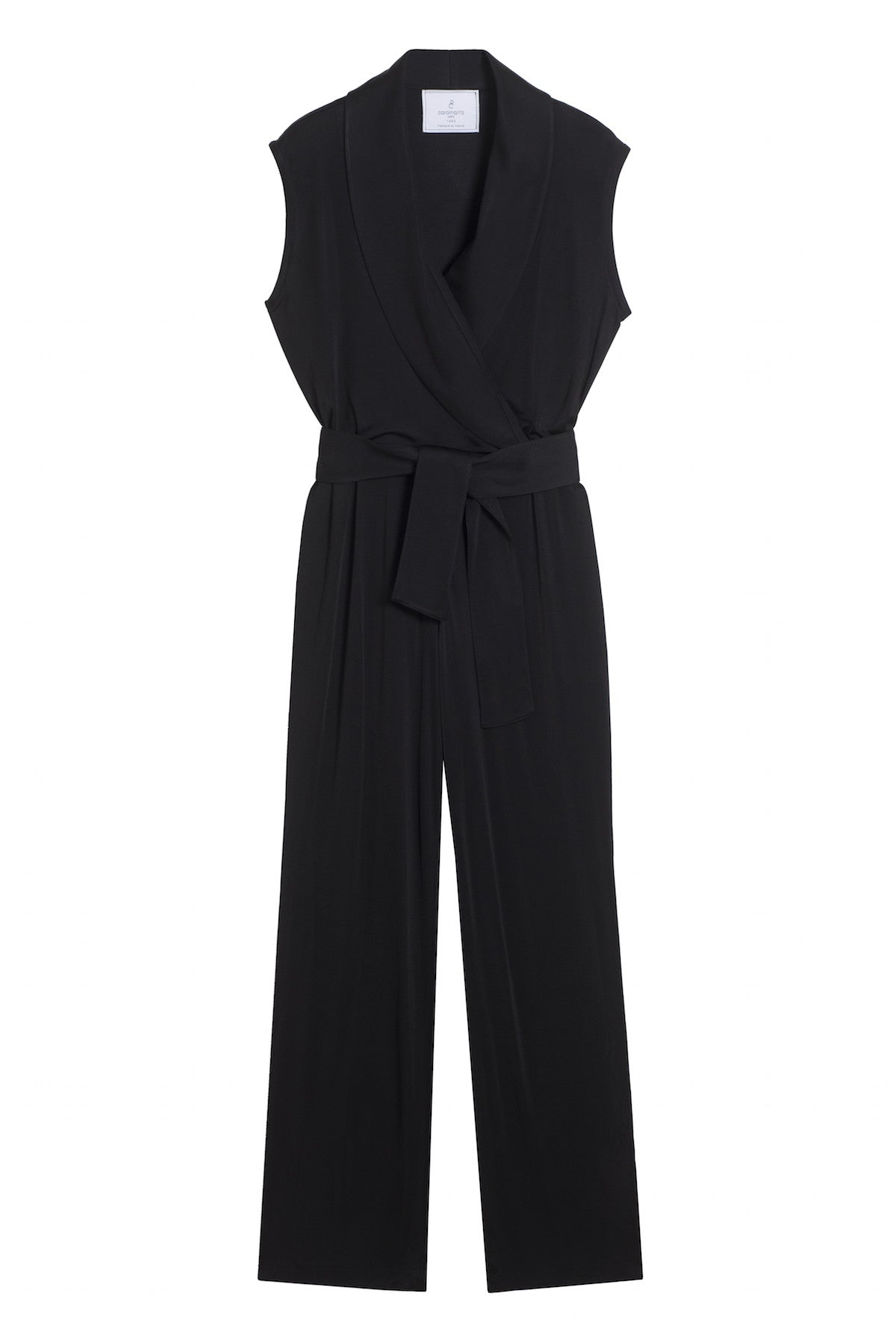 black drap wrap jumpsuit