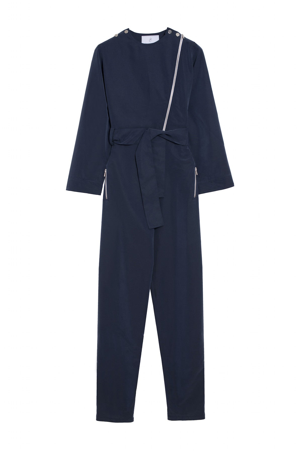 zip navy blue jumpsuit