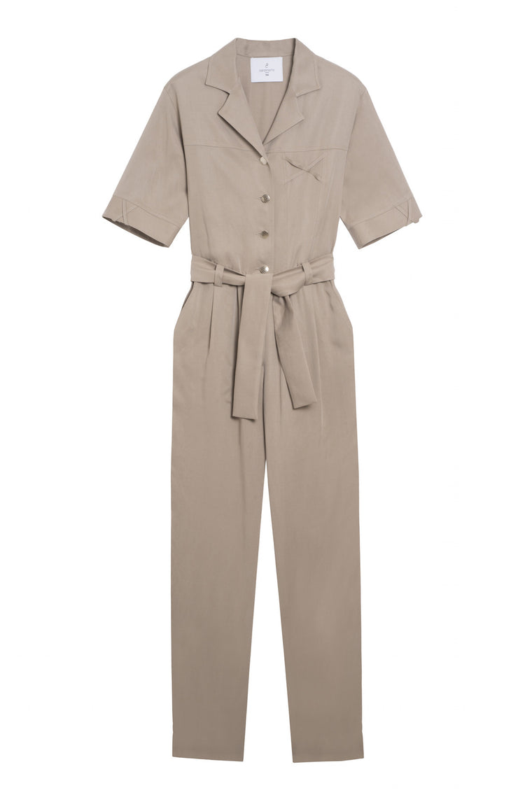 ANTONIE 1987 - Tapered short sleeve pants jumpsuit - Beige