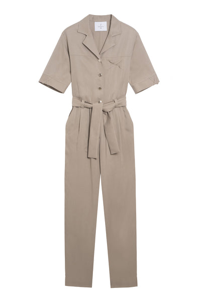 tapered beige pants jumpsuit
