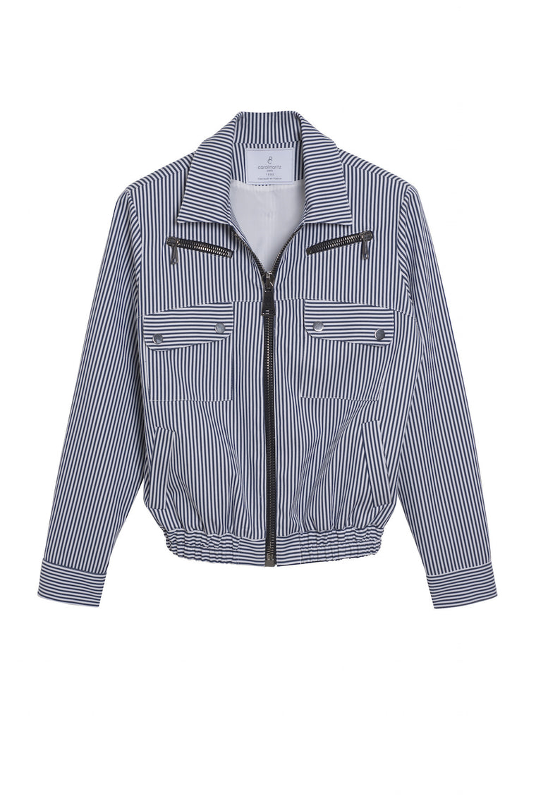 CHARLOTTE 1990 - Striped short blazer jacket - White & blue