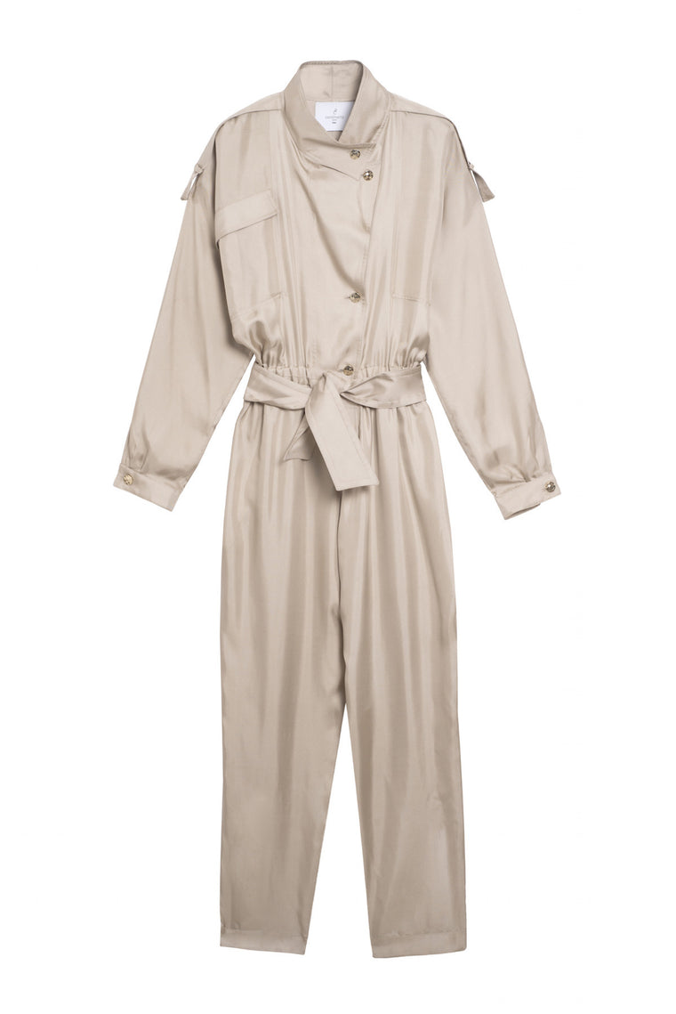 DALLAS 1989 - Silk pants jumpsuit - Champagne or spotted black