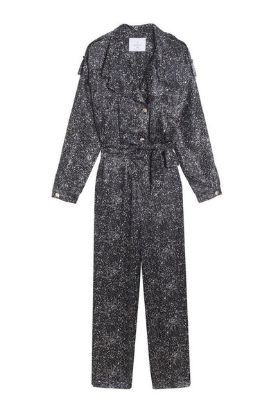 black spotted pants jumpsuit