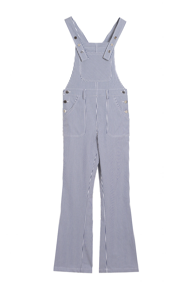FARAH 1970 - Striped overall jumpsuit - White & blue