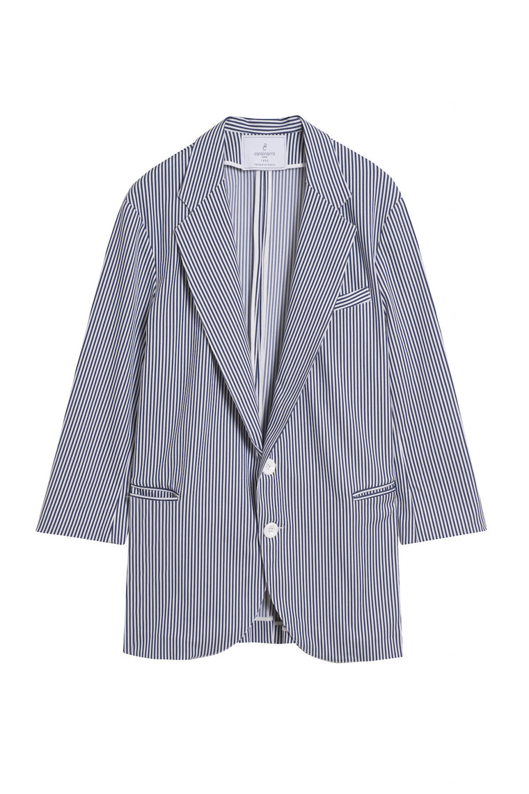 GEORGES 1990 - Striped long blazer jacket - White & blue