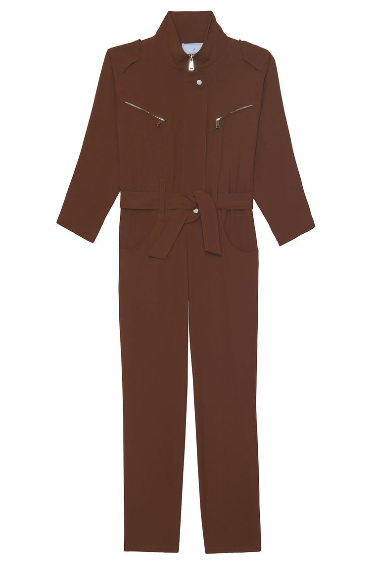 KYLLIE 1990 - Pants jumpsuit with sleeves - Ocher brown