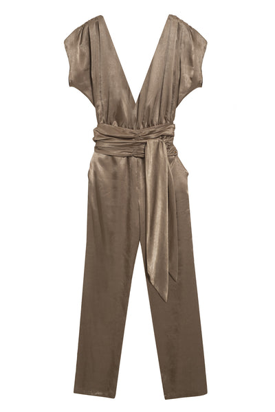 golden deep neck pants jumpsuit