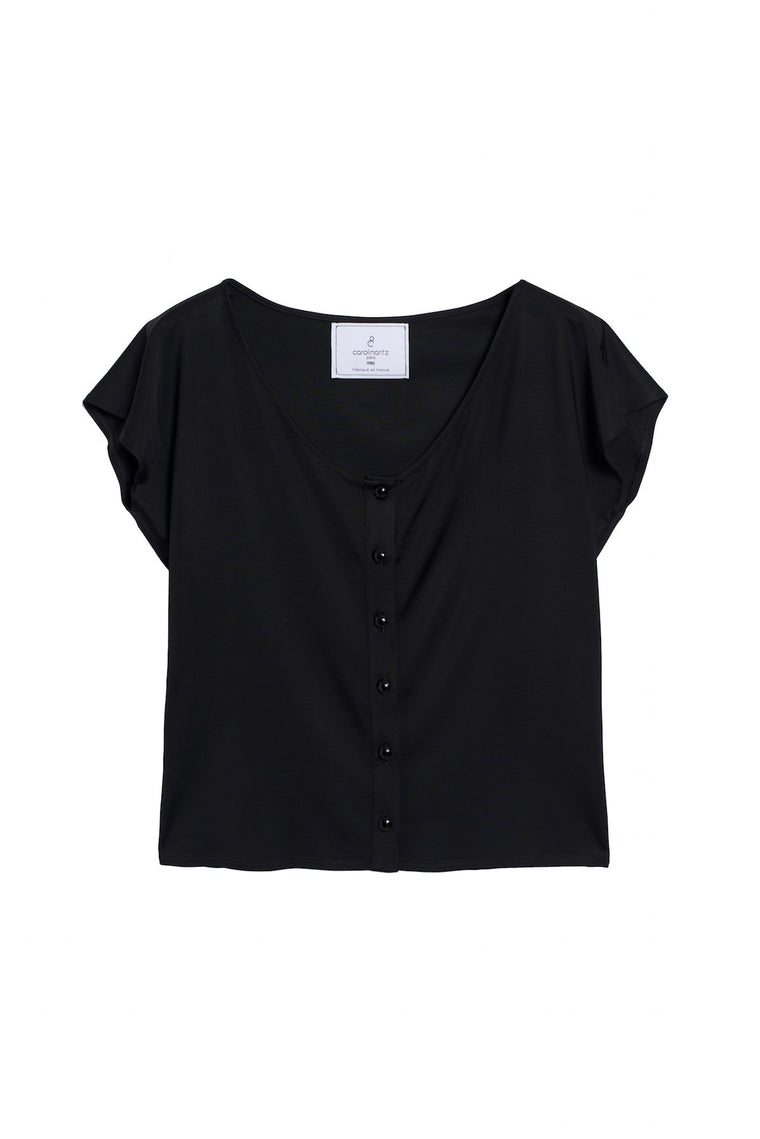 MARIE 1990 - Frill Sleeve & round neck top - Black