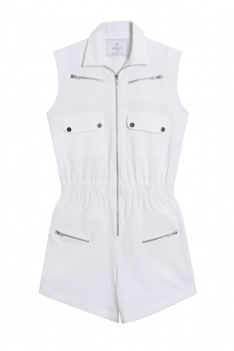 MATHILDA 1990 - Sleeveless cotton short romper - White