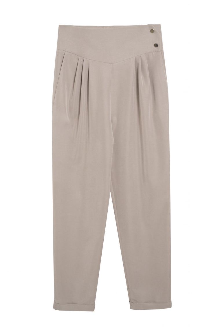 MICKAEL 1990 - Buttoned carrot pants - Beige