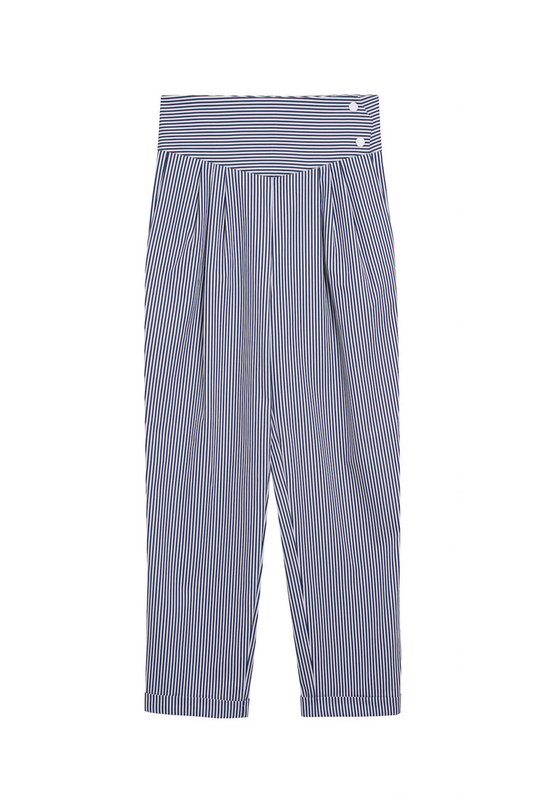 MICKAEL 1990 - Striped carrot pants - White & blue