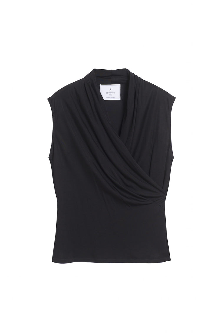 NELL 1990 - Drap wrap sleeveless top - Black