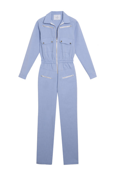 blue oxford zip jumpsuit
