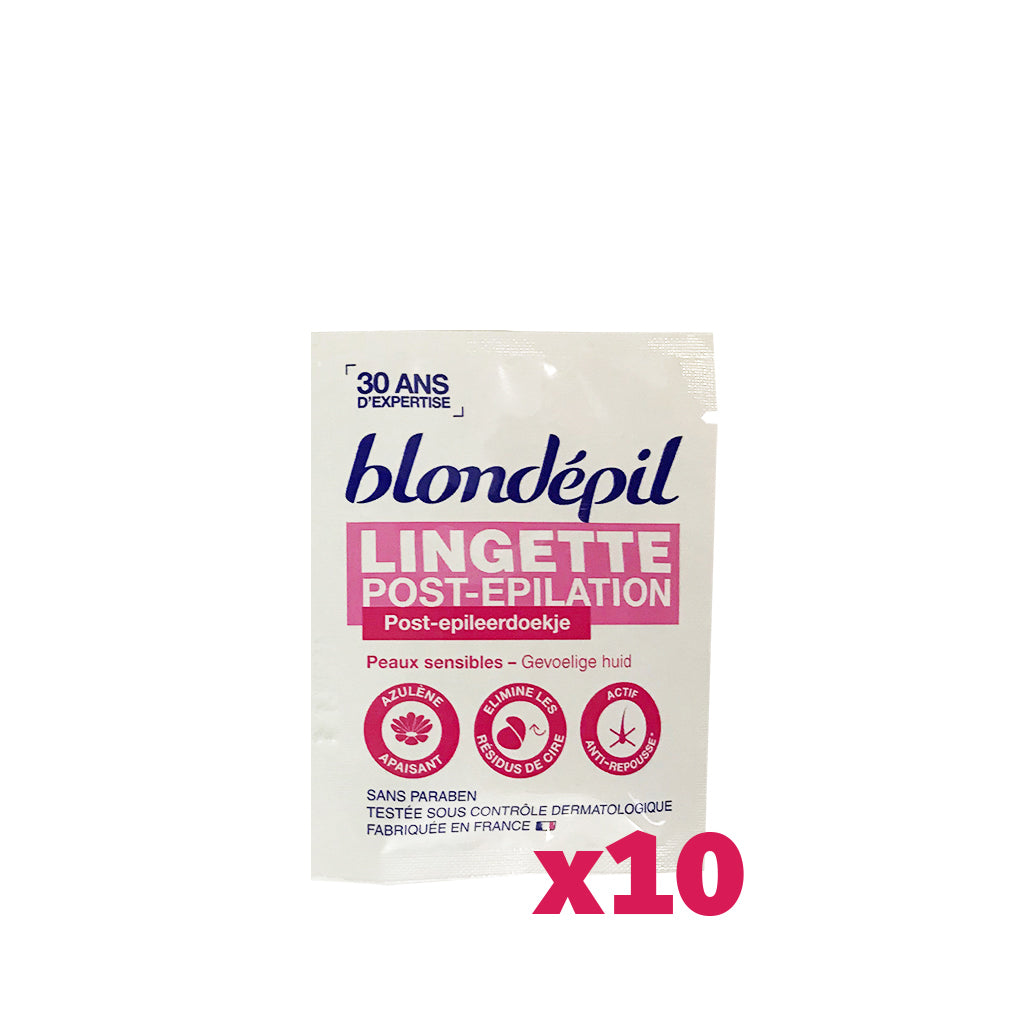 LOT DE 10 LINGETTES POST-EPIL' – PEAUX SENSIBLES - Blondépil