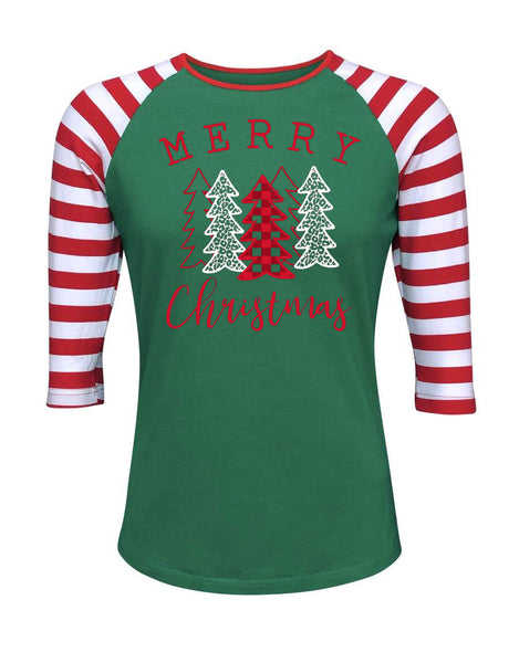 Merry Christmas Striped Green Raglan
