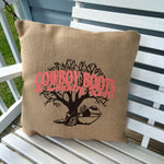 Cowboy Boots & Country Roots Burlap Pillow Cover