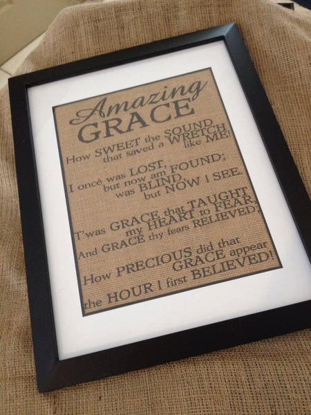 Amazing Grace Burlap Framed Print