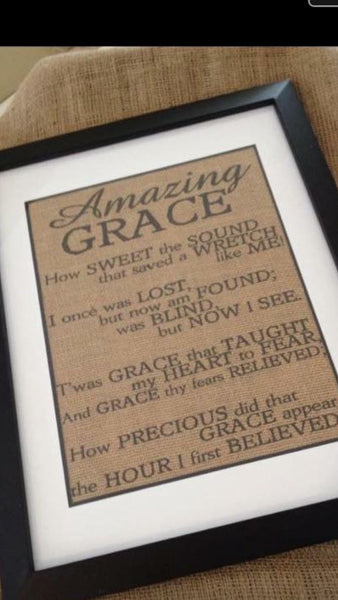 Amazing Grace Framed Burlap