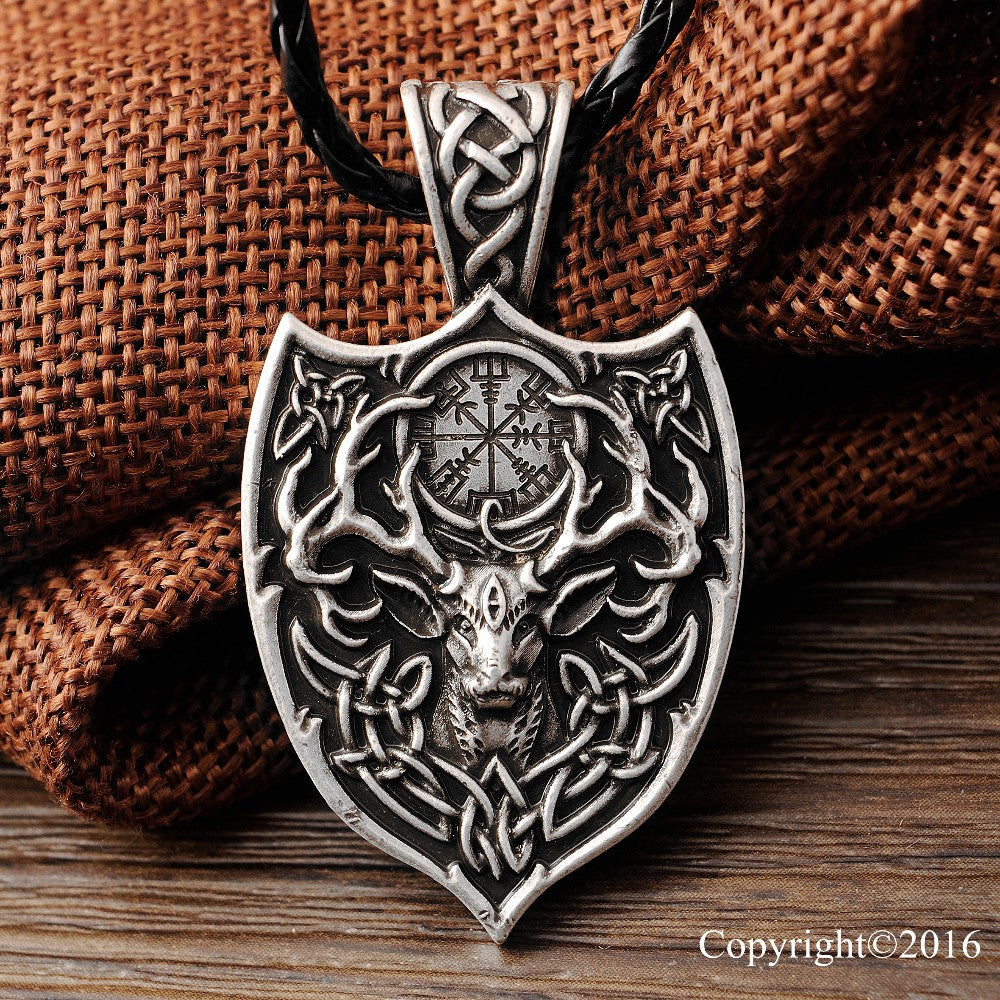 Legendary Viking Aegishjalmur Large Double Deer Sekira Pendant Necklace