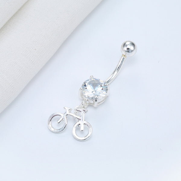 FREE Bicycle Piercing Crystal Gold Belly Button Ring