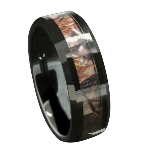 Black Tungsten Red Forest Camo Rings