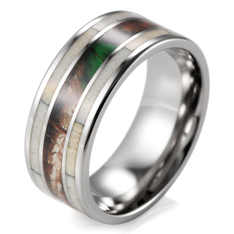Titanium Camo with Real Antler Ring