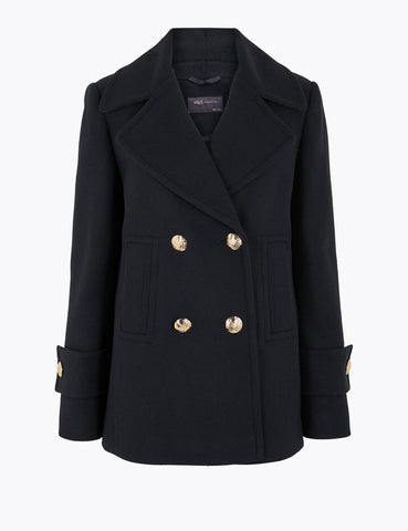 pea coat, pea jacket, winter jacket, Marks & Spencer coat