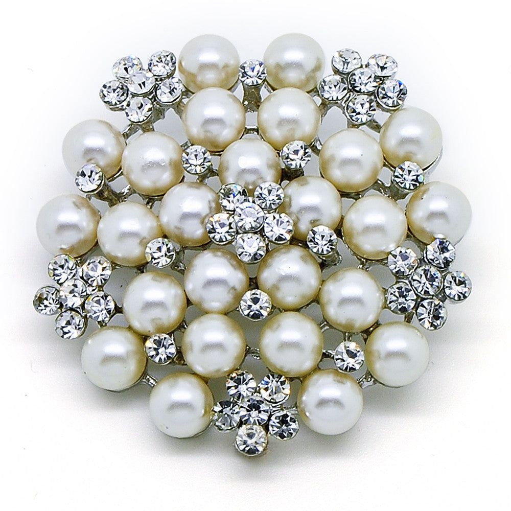 Katie's Style Simulated Faux Pearl Rhinestone Flower Corsage Wedding Brooch Pin