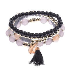 Katie's Style 4 piece Set Multi-Layered Bead Charm Tassel Stackable Stretch Statement Bracelet - BLK