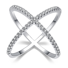 Katie's Style Infinity X Criss Cross Pave Cubic Zirconia CZ Women Fashion Statement Cocktail Ring
