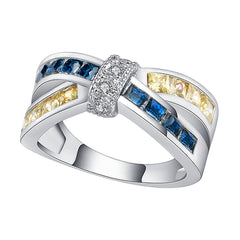 Katie's Style Infinity X Royal Blue Yellow and Clear Cubic Zirconia Women Fashion Statement Ring