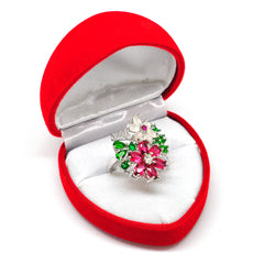 Katie's Style Aphrodite Green Red Cubic Zirconia Flower CZ Women Fashion Cocktail Statement Ring