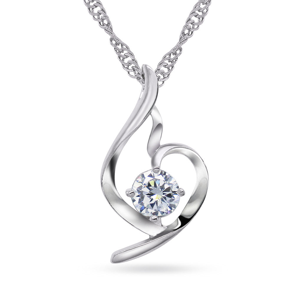 Katie's Style Dream Lover Clear Round Cubic Zirconia Pendant Necklace