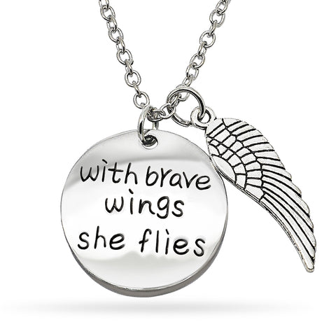 Katie's Style With Brave Wings She Flies Inspirational Courage Sentiment Message Pendant Necklace