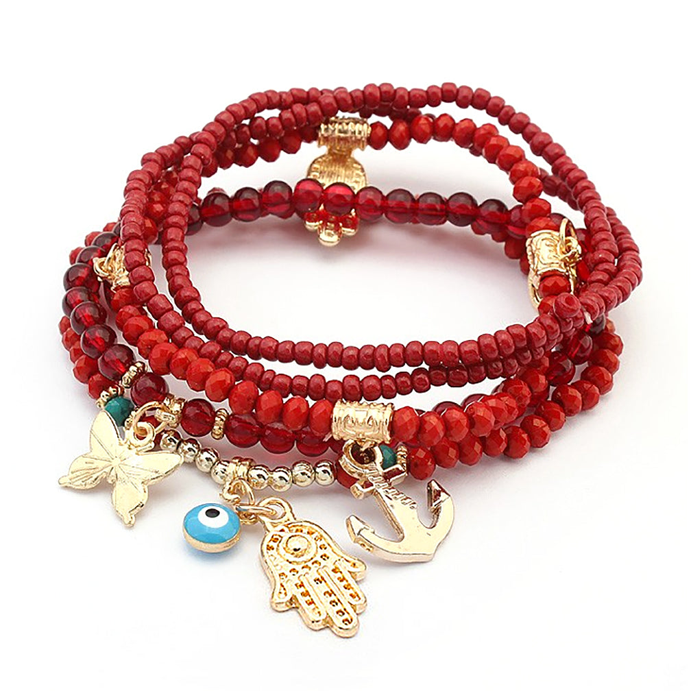 Katie's Style 5 piece Set Multi-Layered Amulet Bead Multi Charm Tassel Stackable Stretch Statement Bracelet - RD