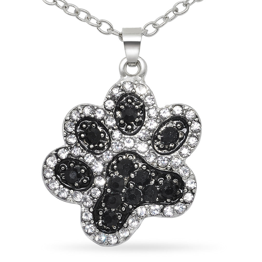 Katies style black and white crystal dog paw pet animal lover katies style black and white crystal dog paw pet animal lover pendant necklace mozeypictures Gallery
