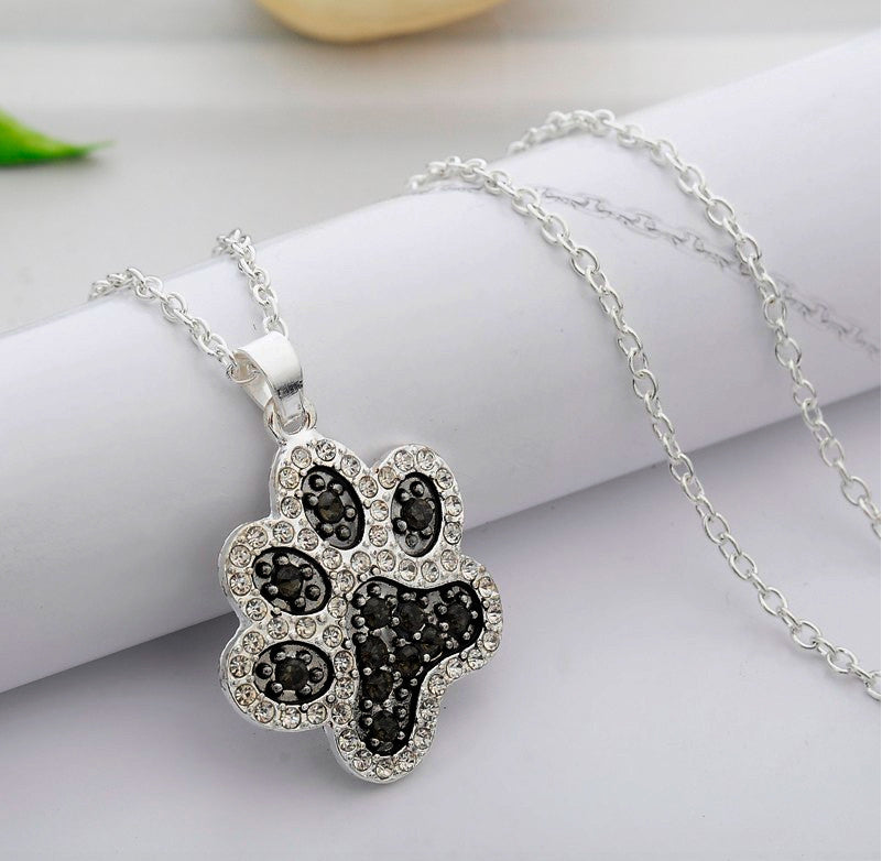 Katies style black and white crystal dog paw pet animal lover katies style black and white crystal dog paw pet animal lover pendant necklace aloadofball Image collections