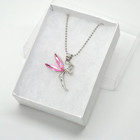 Katie's Style Pink Rhinestone Crystal Tinker Fairy Pendant Necklace Jewelry Gift