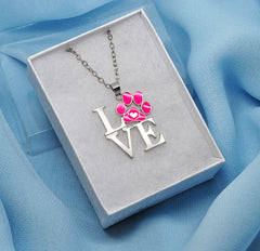 Katie's Style Pink Enamel Cat Dog Paw LOVE Message Fashion Pet Pendant Necklace Jewelry Gift