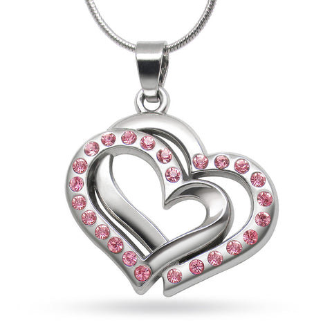 Katie's Style Yours Always Pink Rhinestone Crystal Double Heart Love BCA Pendant Necklace