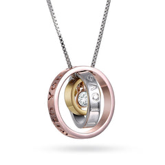 Katie's Style Crystal Tri-Tone Silvertone Goldtone Rose-Goldtone Engraved Mom Message Pendant Necklace